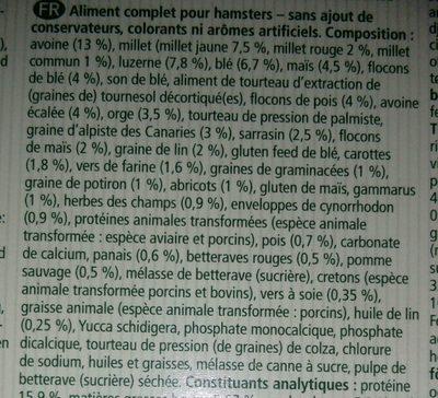 Mélange de muesli issu du milieu nature pour hamster - Ingredients - fr