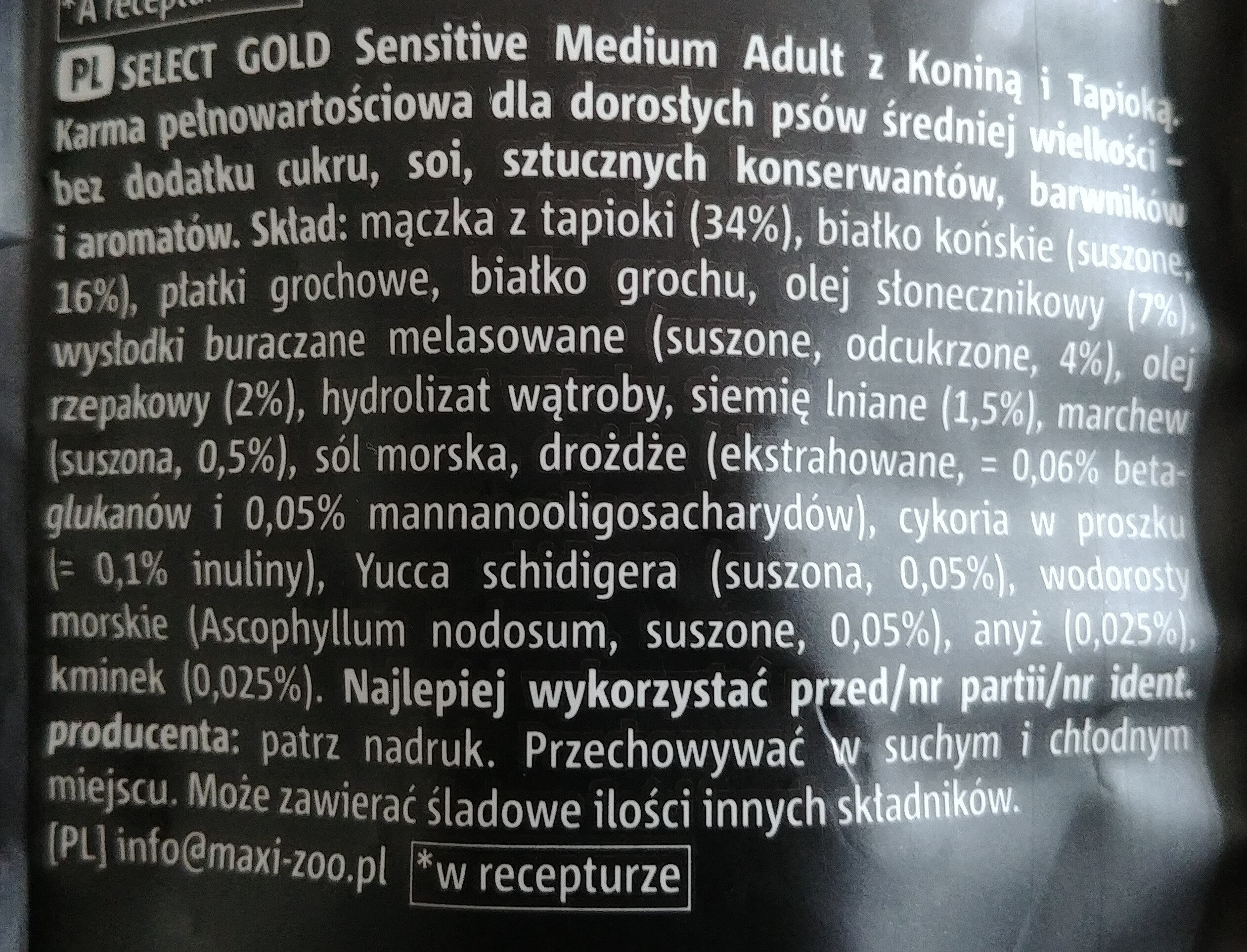 Sensitive Medium Adult z Koniną i Tapioką - Ingredients