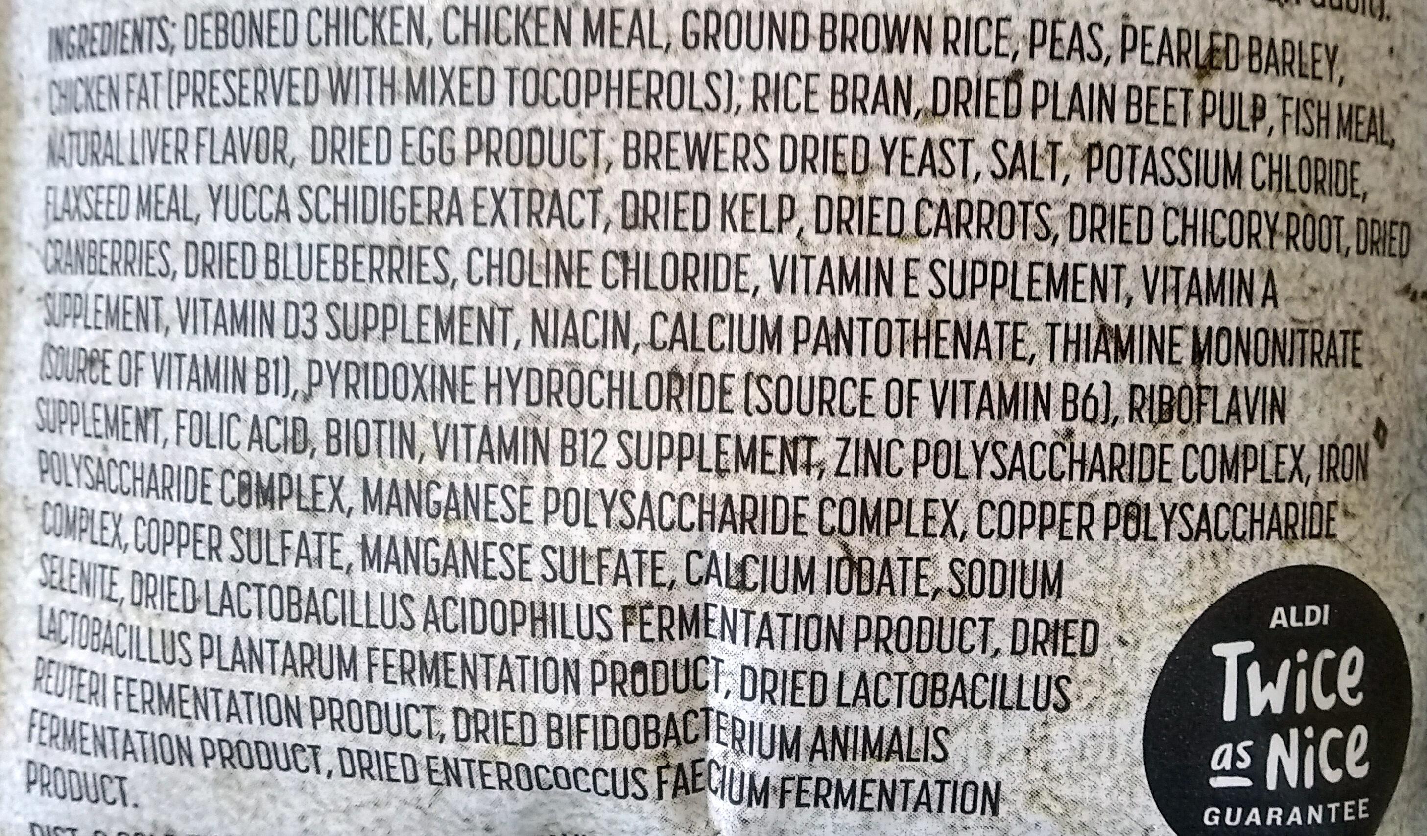 Deboned Chicken and Brown Rice Recipe Dog Food - Ingredients - en
