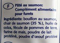 Hansepet - Tubidog Tubi Frett Crème De Saumon Pour Furet - Ingredients