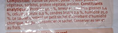 Friandises poulet/poisson chien - Nutrition facts