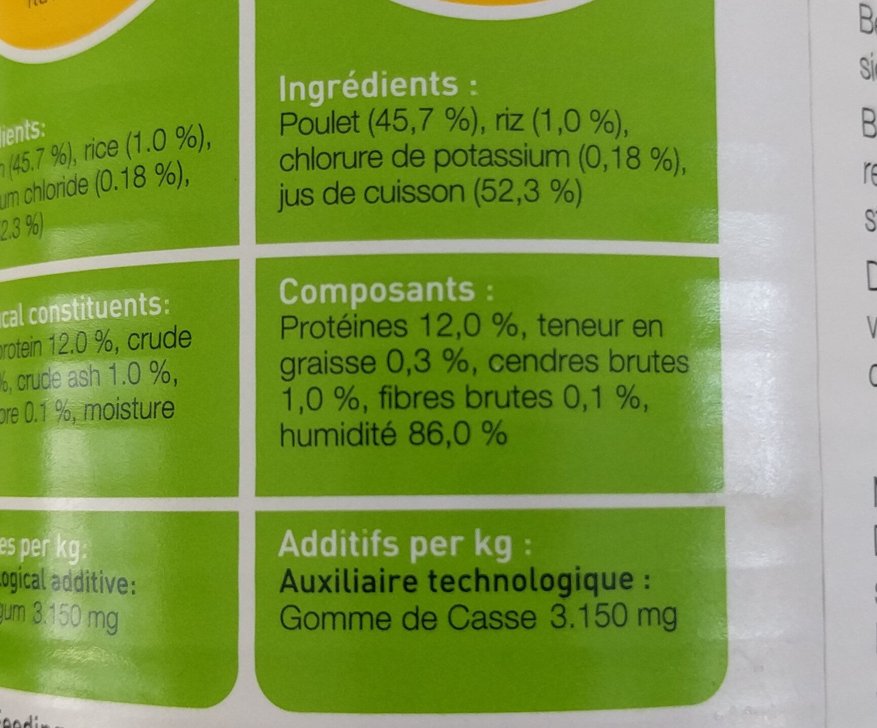Cosma original poulet en gelée - Nutrition facts