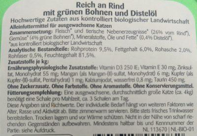Bio Rind mit grünen Bohnen & Distelöl - Ingredients - de