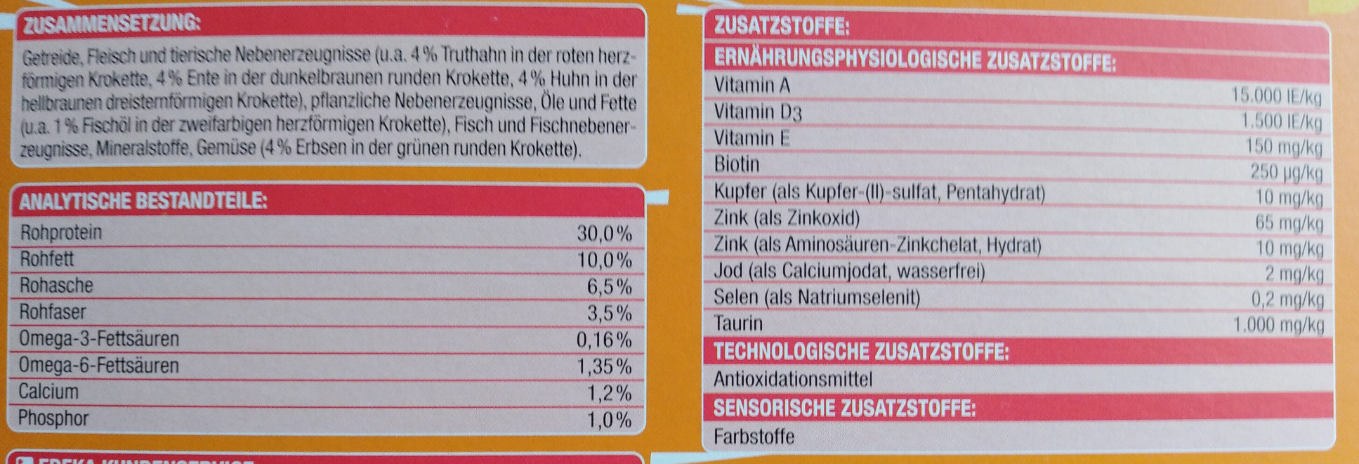 Knuspermenü mit Geflügel - Nutrition facts - de