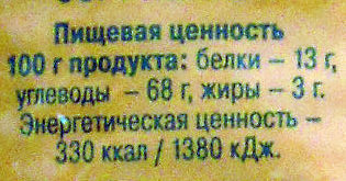 Гречка ядрица - Nutrition facts