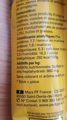Dentastix, 80% réduction du tartre, chien plus de 10kg - Ingredients