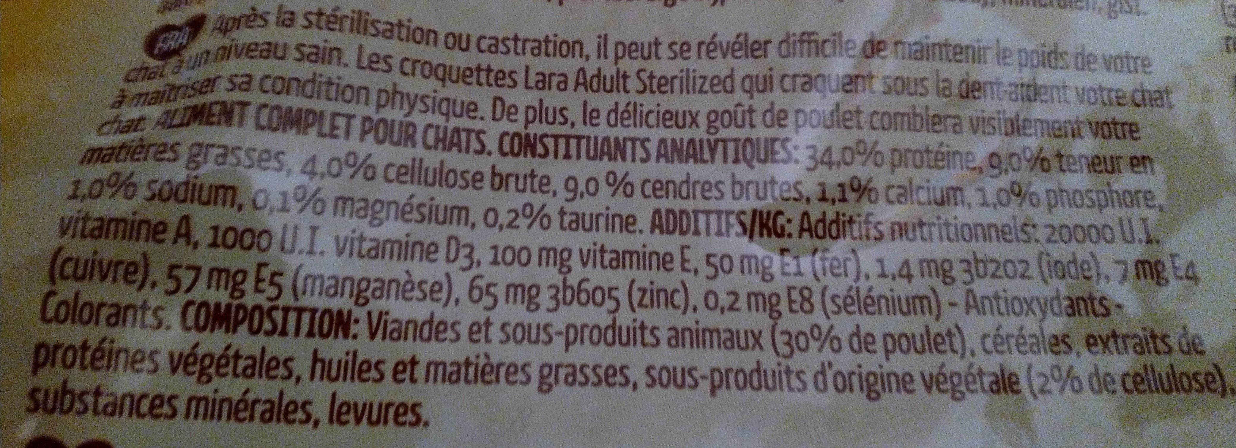 Lara adult sterilized - Ingredients
