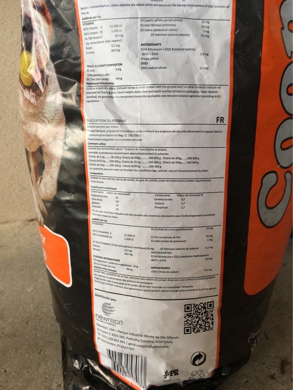 Croquette pour chien - Nutrition facts
