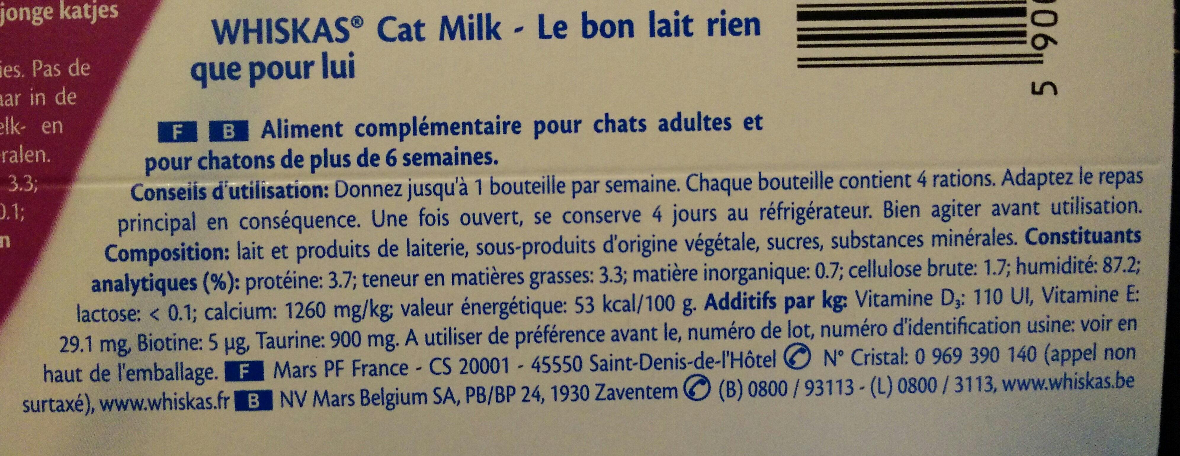 Lait pour chats et chatons - Nutrition facts - fr