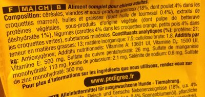 10KG Pedigree Volaille Adulte - Ingredients