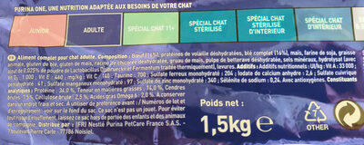 One Croquette Chat Adulte Boeuf 1.5Kg - Ingredients - en
