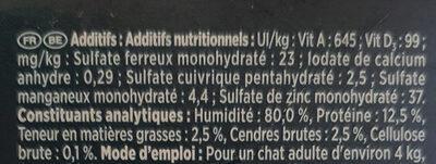 Les Filettines avec des légumes et viandes pour chats - Ingredients - fr