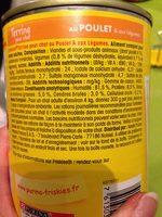 Aliment Complet Pour Chat Adulte. Boite 400 g Au Poulet Et Légumes - Ingredients