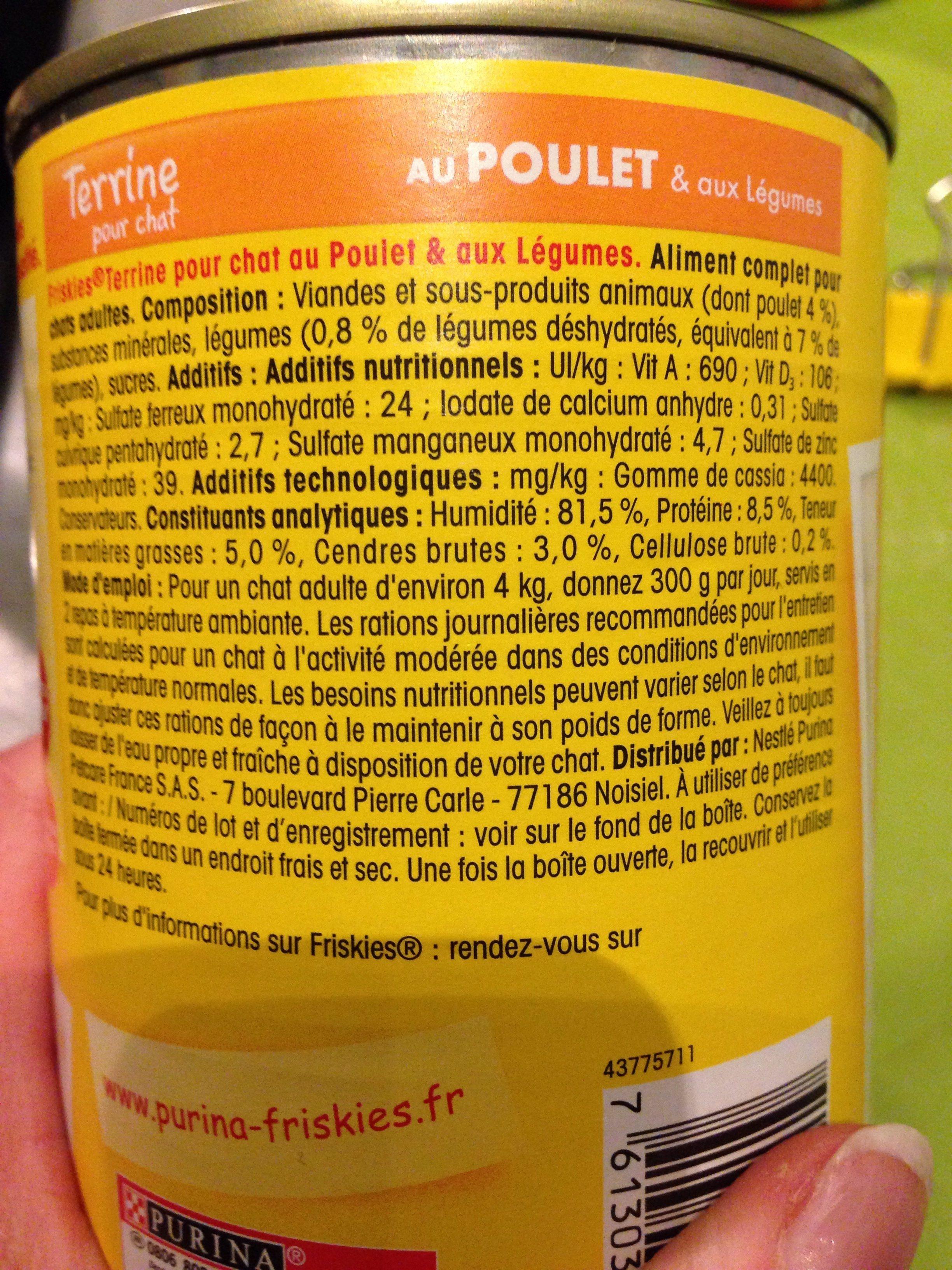 Aliment Complet Pour Chat Adulte. Boite 400 g Au Poulet Et Légumes - Ingredients - fr