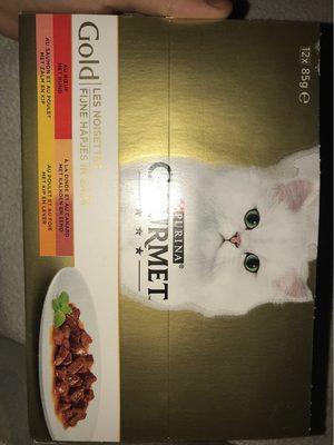 Les noisettes, Aliment complet pour chat au boeuf, @ la dinde et au canard, au saumon et au poulet, au poulet et au foie - Produit