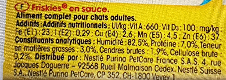 Friskies aux poissons et légumes en sauce - Nutrition facts - fr