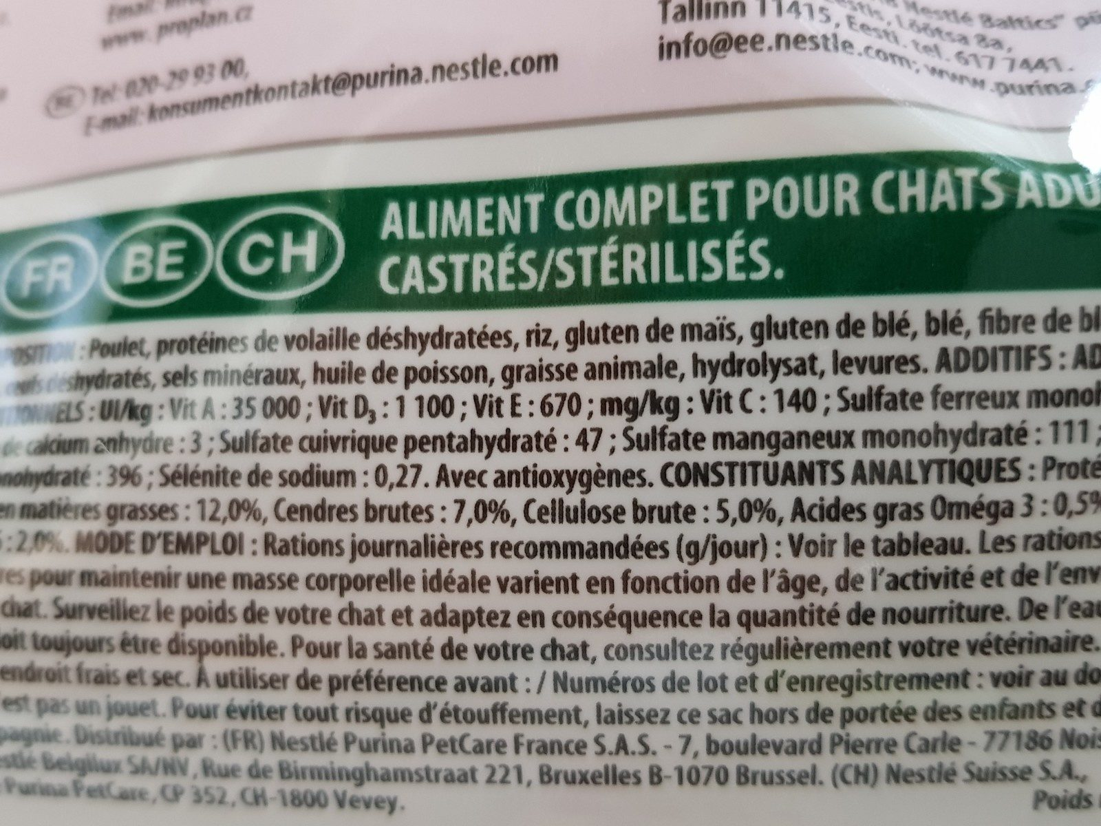 Croquette pour chat STERILISED au lapin, 3kg - Ingrédients