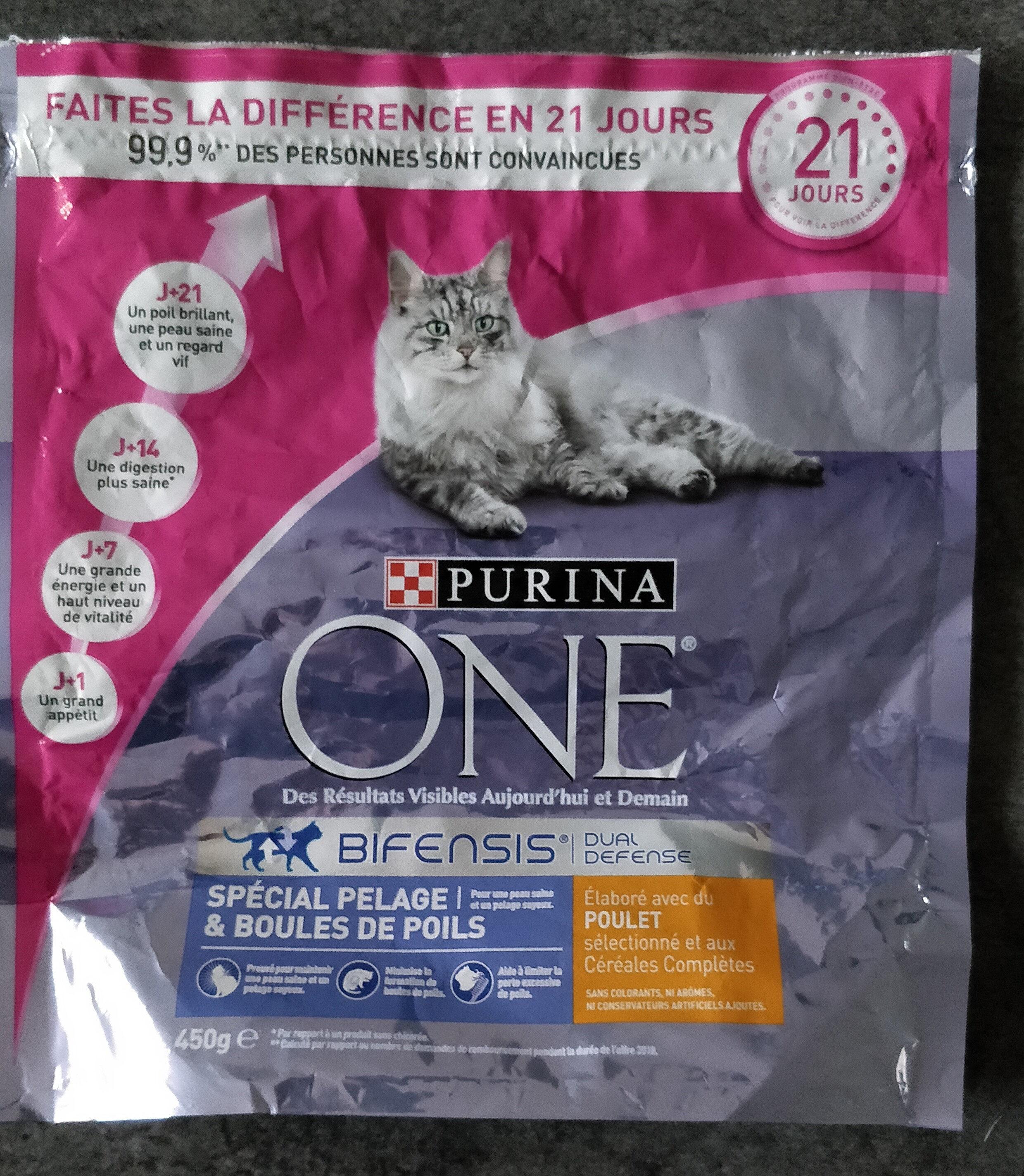 Croquettes chat Purina One Bifensis Special Pelage et boules de poils au  Poulet 450g - Product - fr