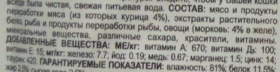Felix Sensations в желе. С курицей в желе с морковью. - Ingredients