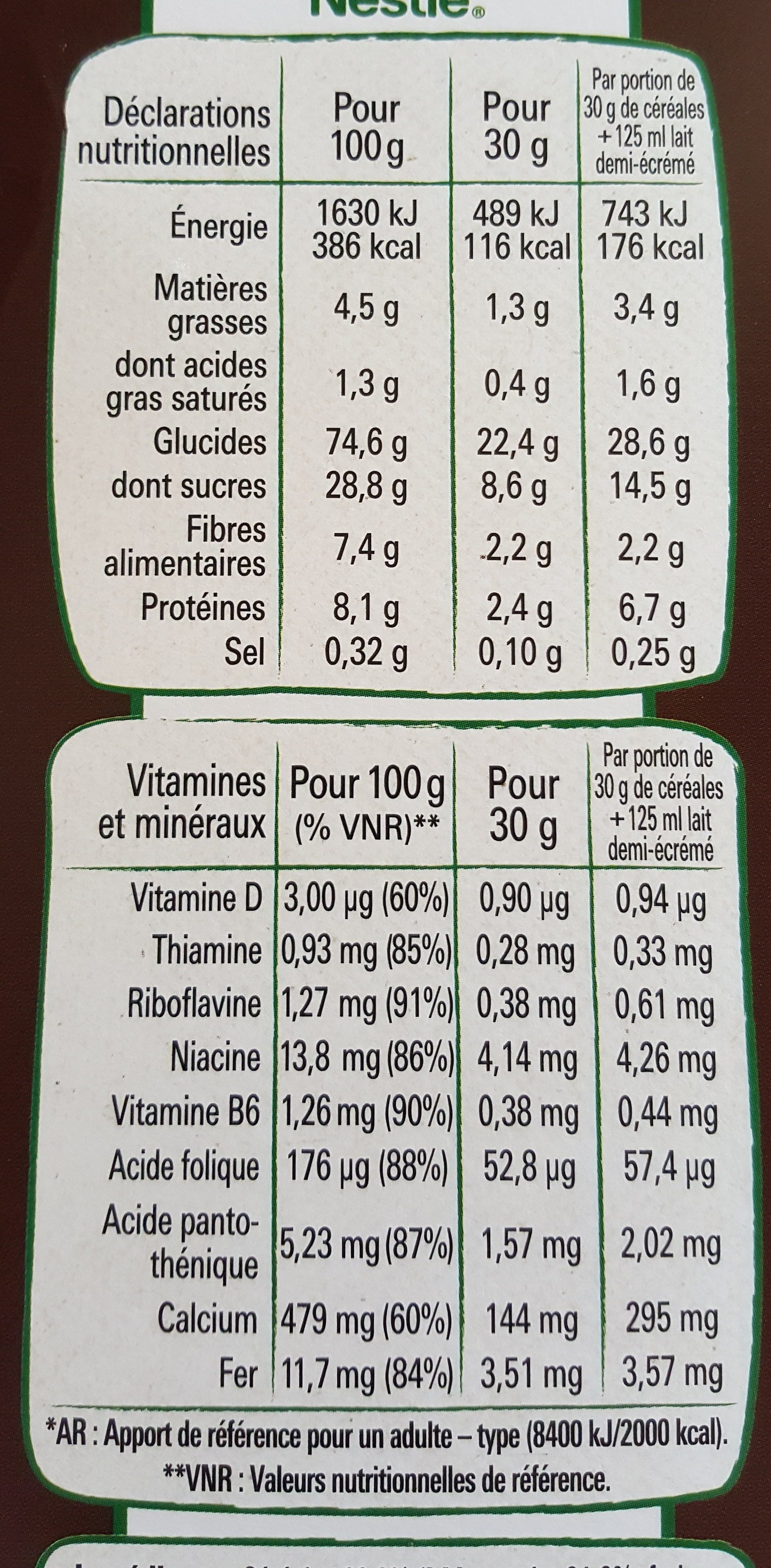 céréale chocapic - Nutrition facts
