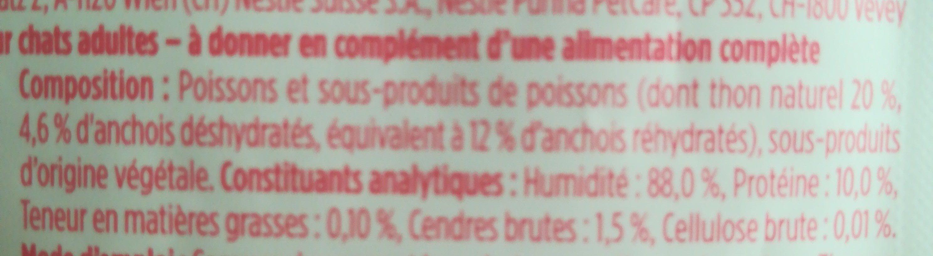 Purina Gourmet Soupe De Thon Et Anchois - Ingredients - fr
