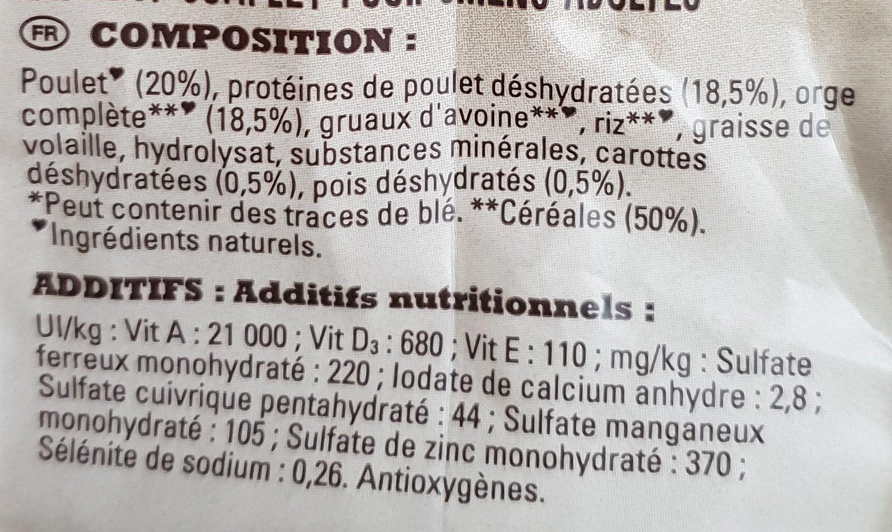 Croquettes Poulet et orge complète - Ingredients