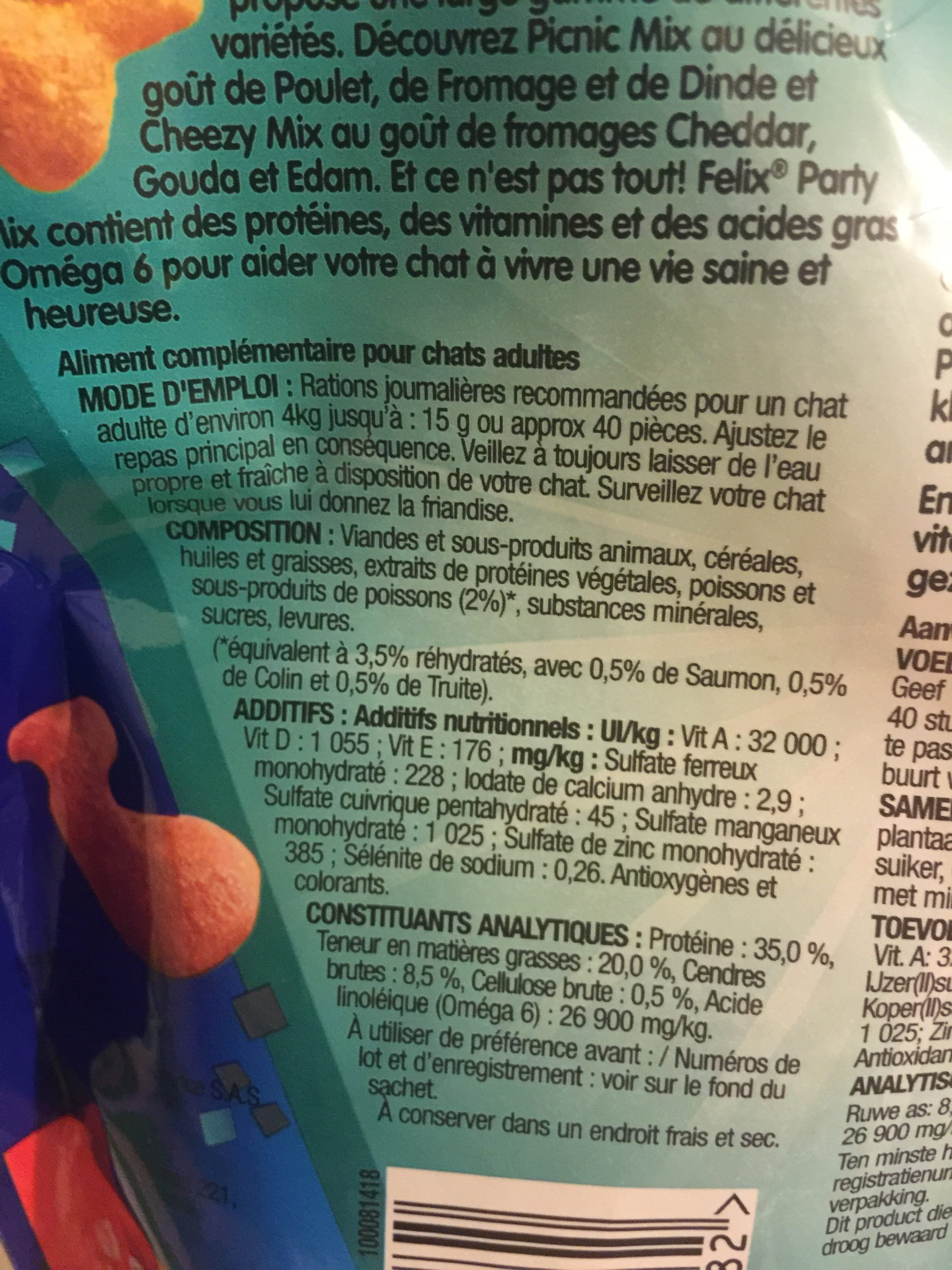 Felix Party Mix Ocean 200G - Ingredients - fr