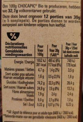 Chocapic bio - Nutrition facts - fr