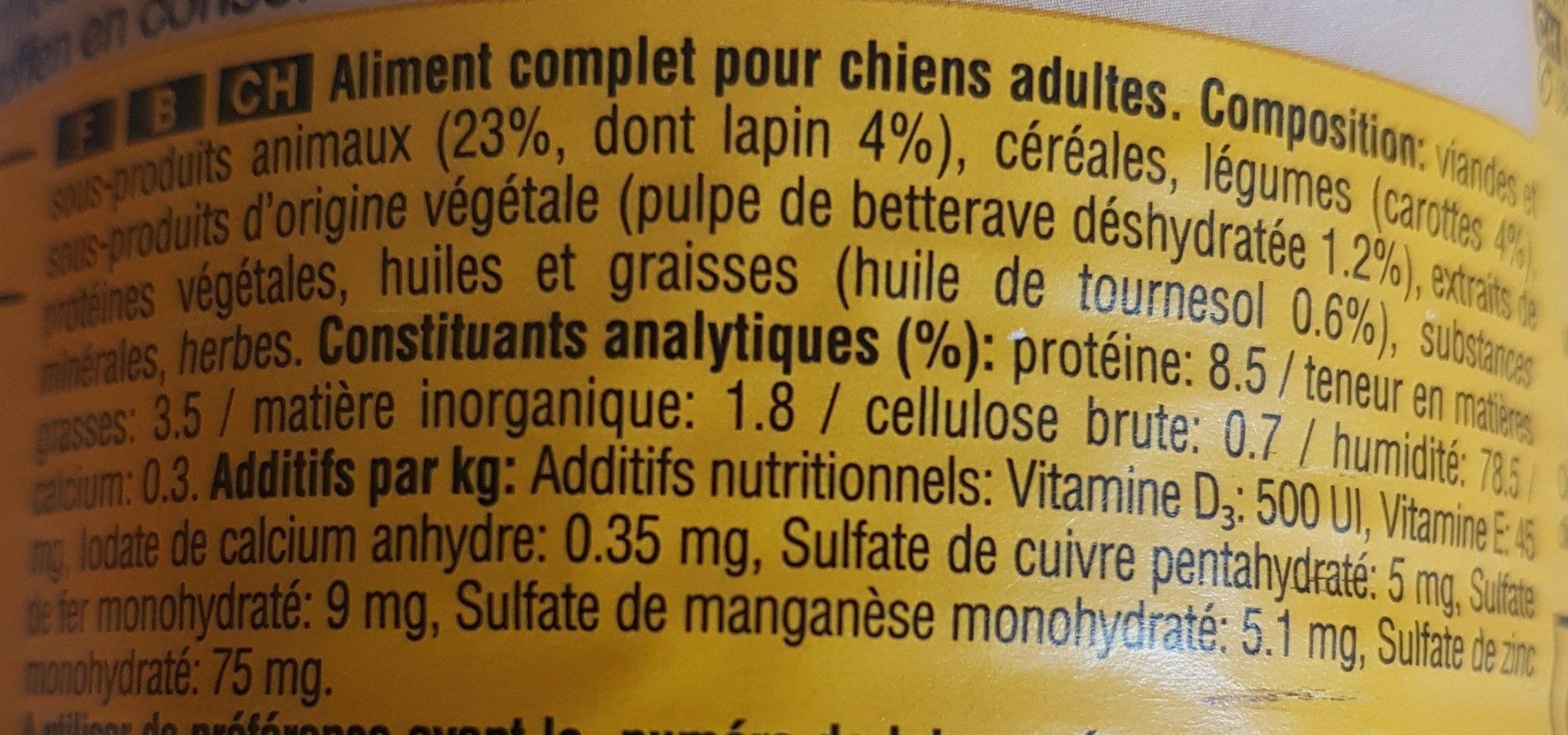 Pedigree Lapin Carottes 400 G - Ingredients - fr
