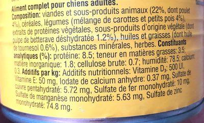 Les cuisinés en sauce au Poulet et aux Legumes - Ingredients - fr