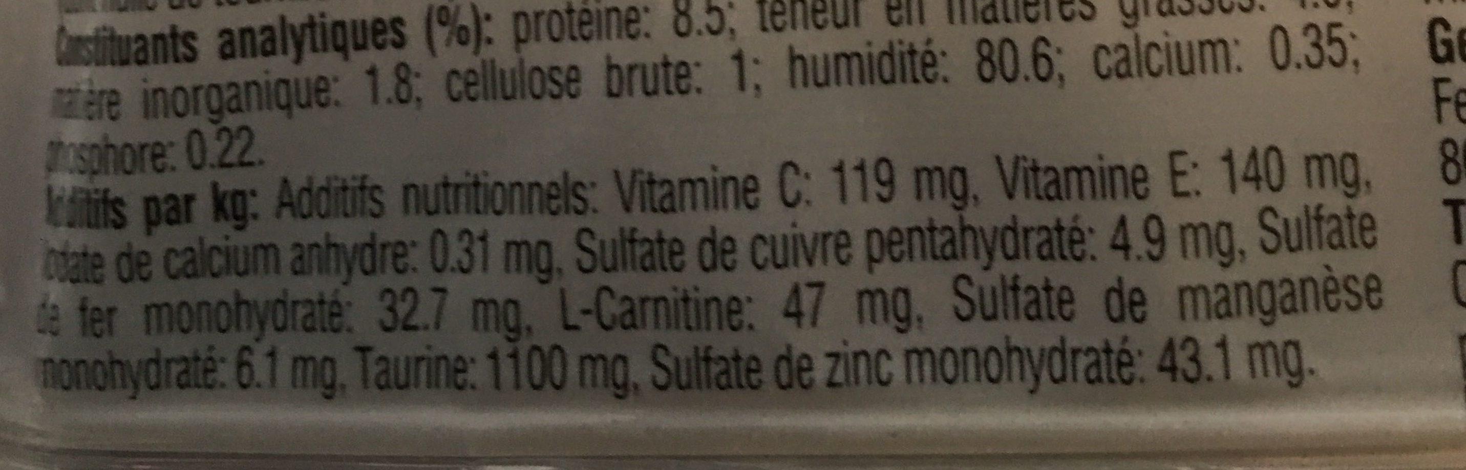Sachets fraicheur Indoor 1+ Poulet & Saumon - Nutrition facts