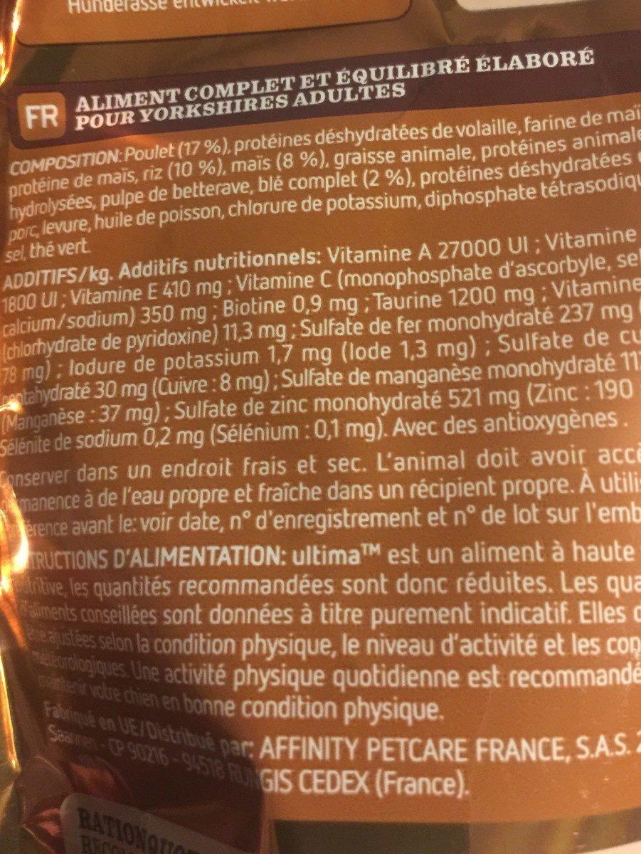 Croquettes pour Yorkshire terrier, spécial mini 1-10kg - Ingredients - fr