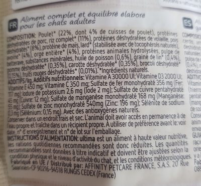 ultima nature adulte poulet - Ingredients