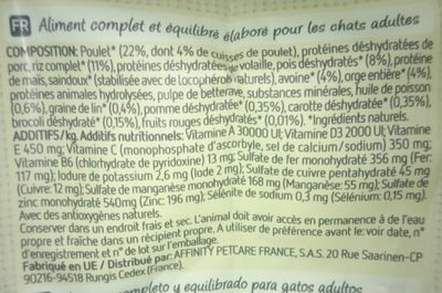 Affinity Ultima Nature poulet 1,25 - Ingredients - fr