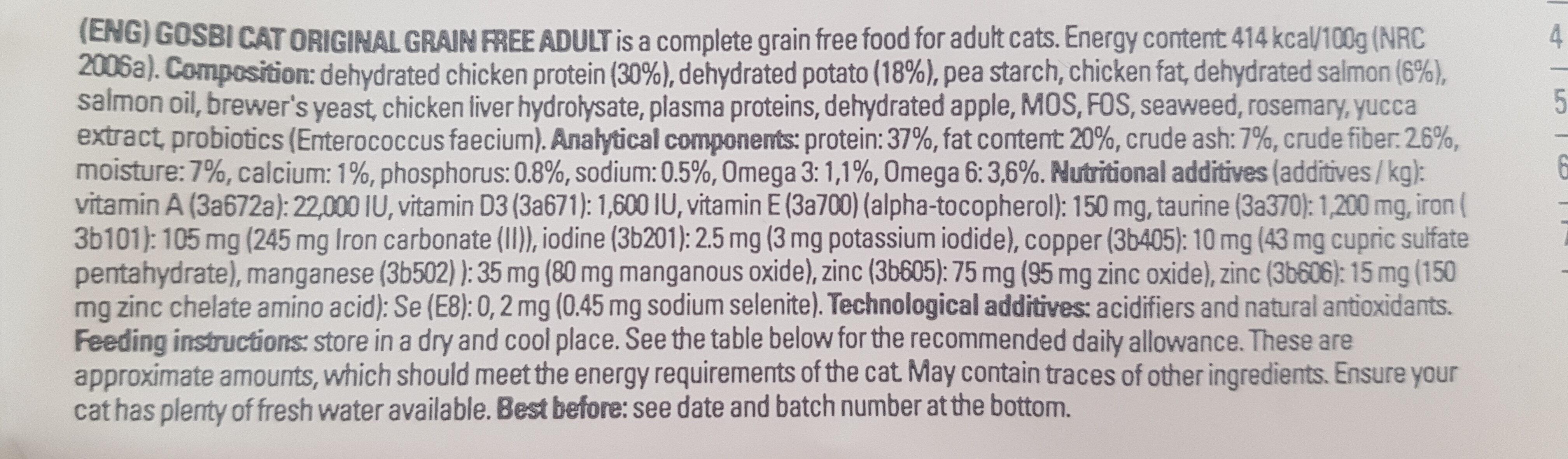 Gosbi Original Gain Free Adult - Ingredients - en