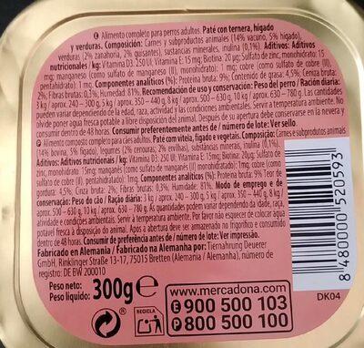 Paté adultos - Nutrition facts
