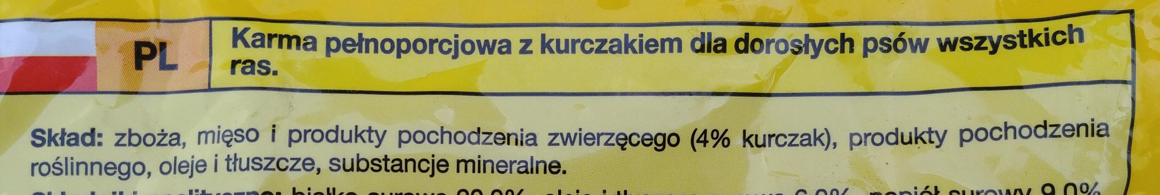 Karma pełnoporcjowa z kurczakiem dla dorosłych psów wszystkich ras - Ingredients - pl