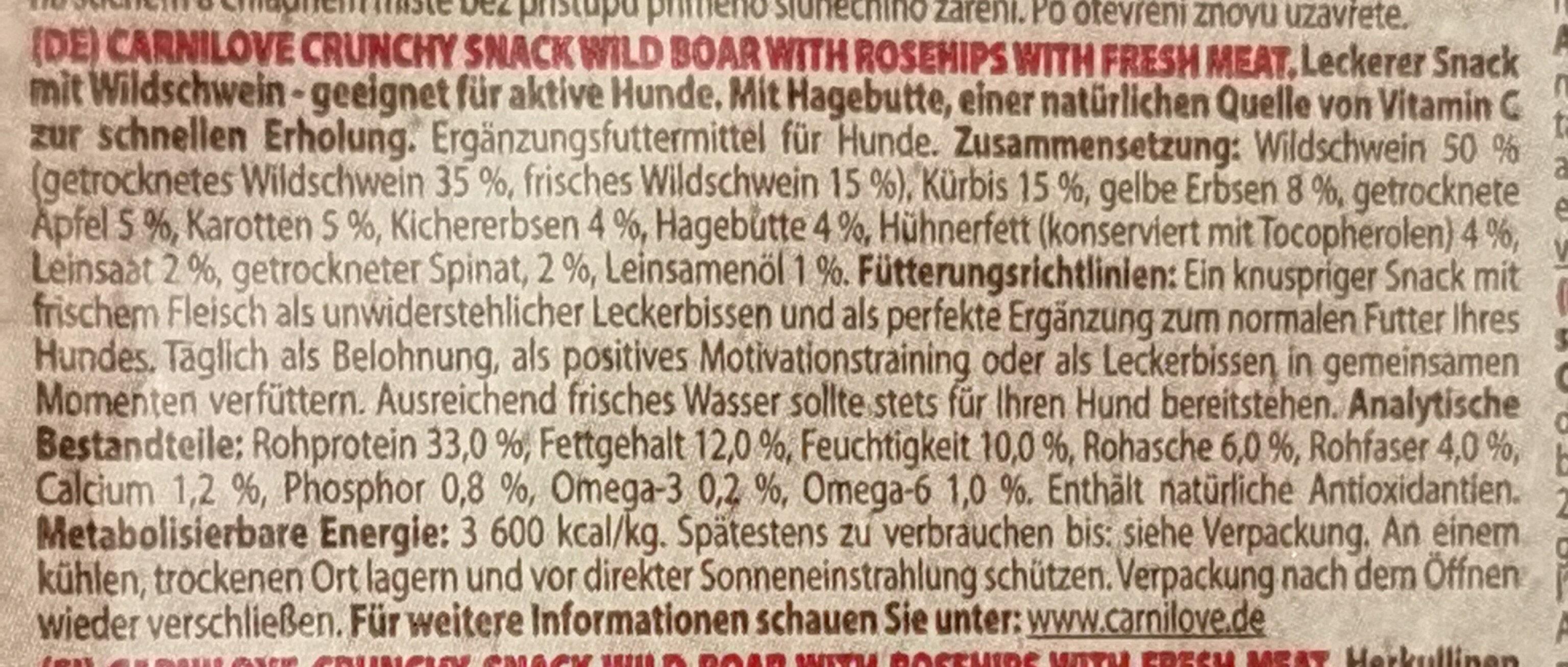 Wild Boar with Rosehips - Ingredients - de