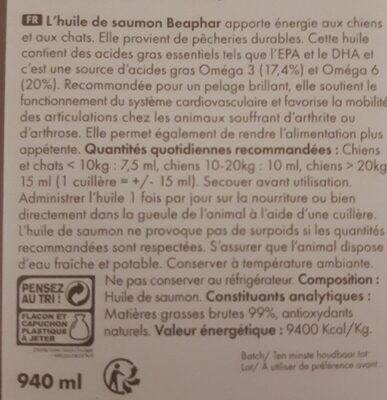 Zalmolie huile de saumon - Nutrition facts - fr