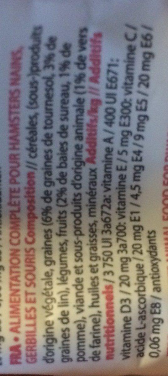 Puur Dwarf Hamster & Friends 400GR - Ingredients - fr
