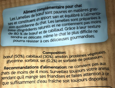 Lamelle bœuf & cabillaud - Ingredients