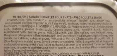 Pâtée Pour Chat Poulet, Dinde, Légume - Ingrédients