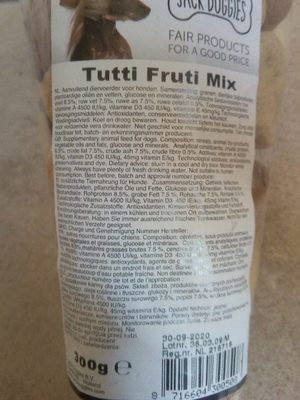 Tutti fruti pour chien - Ingrédients