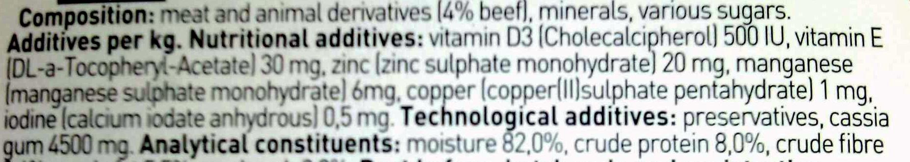 pate de carne de vaca para gato adultos - Ingredients