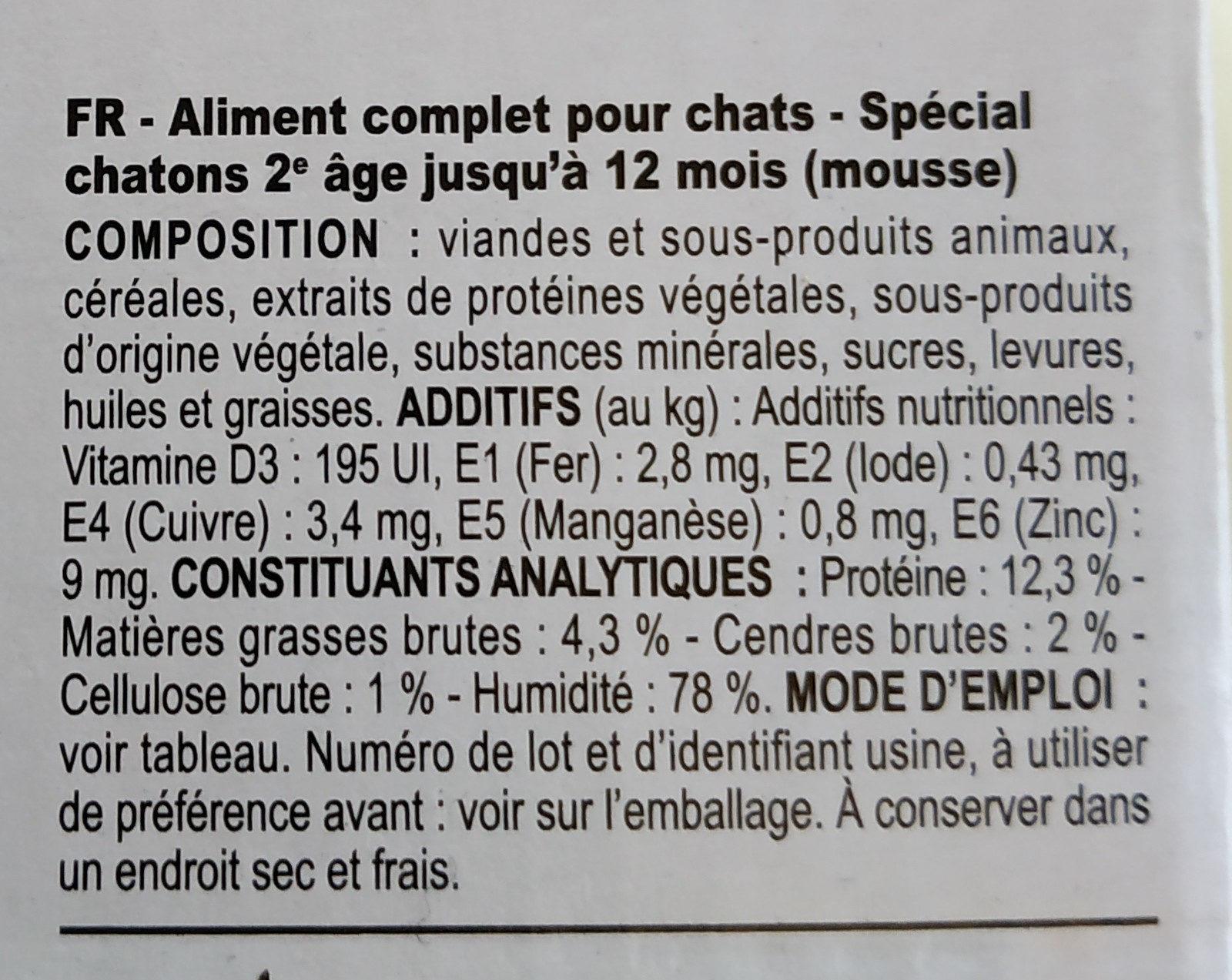 royal canin kitten mousse - Ingredients - fr