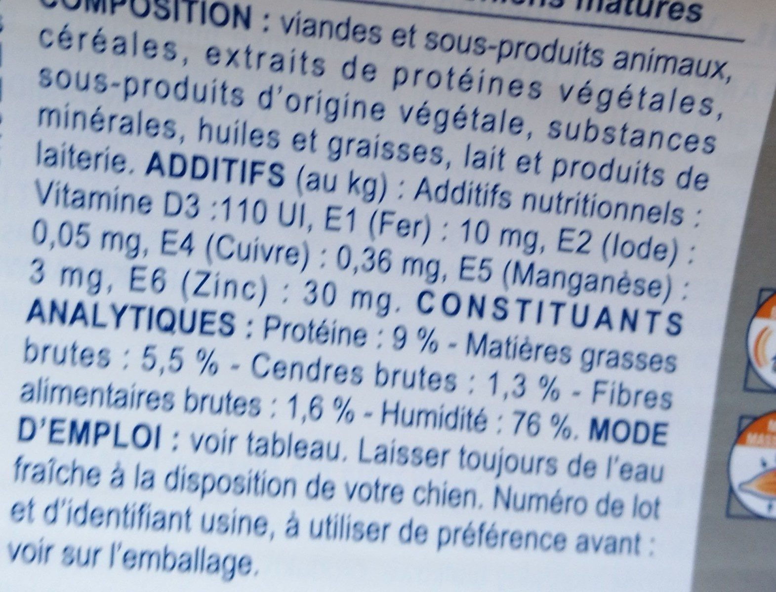 Senior Consult - Mature - Ingredients